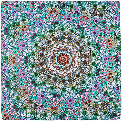 R. Culturi Handmade in Italy Modal Cashmere Luxury Artwork Scarf (Green/Pink) by R. Culturi