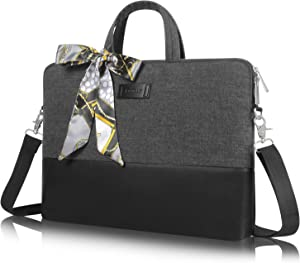 Kamlui 15.6 Inch Laptop Bag - for Women Computer Shoulder Messenger Case (Black)