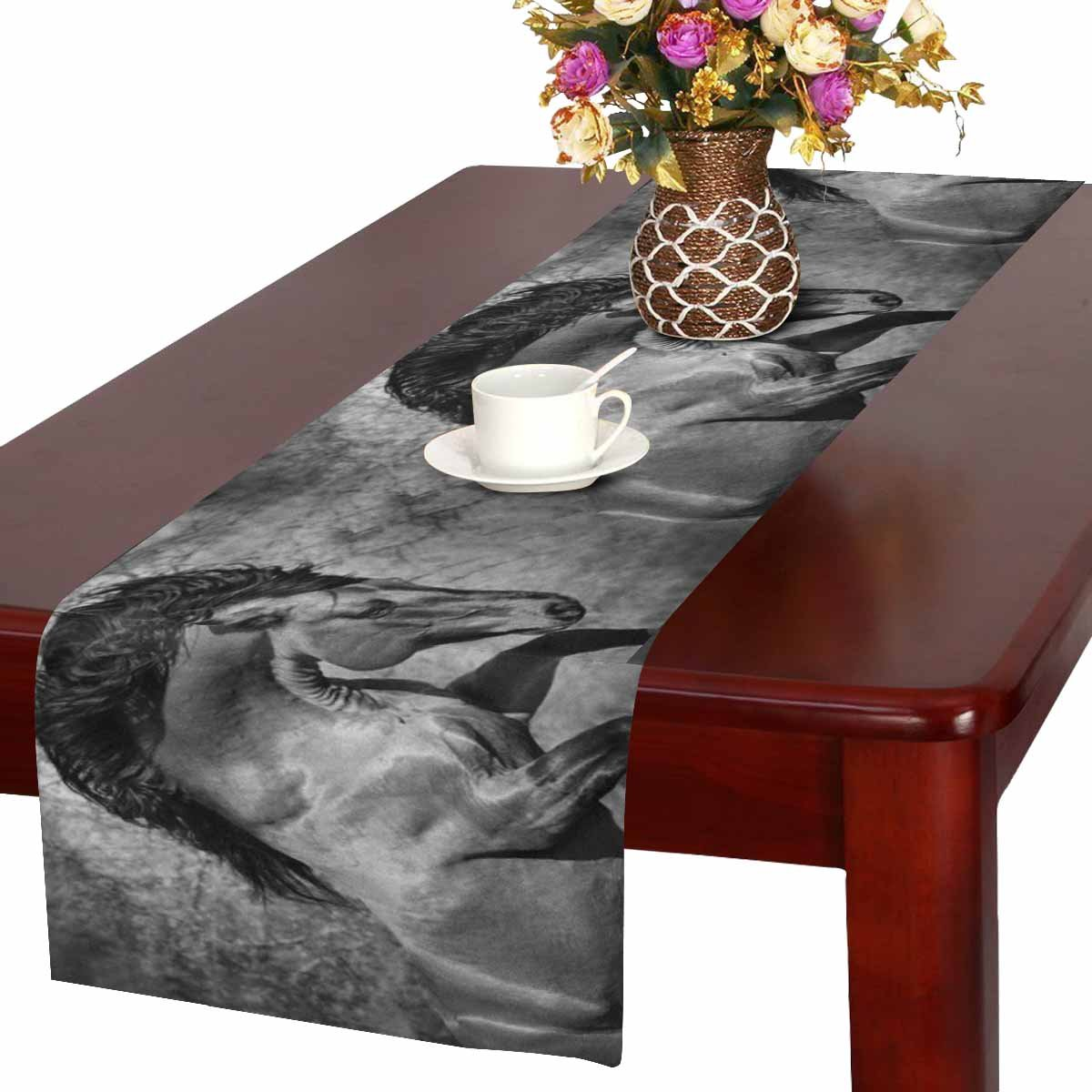 InterestPrint Running Big Beautiful Friesian Horse Cool Animal Table Runner Linen & Cotton Cloth Placemat Home Decor for Kitchen Dining Wedding Party 16 x 72 Inches