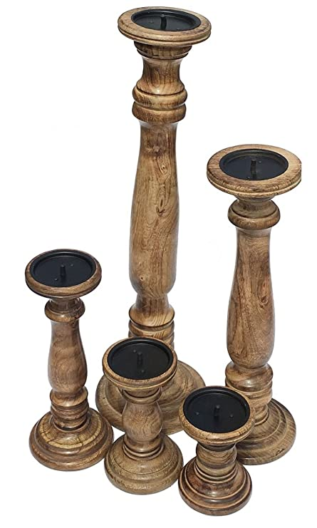 Light Brown,XX Large 63cm 63cm Tall Rustic Shabby Chic Solid Carved Pillar Church Wooden Candle Holder Stick Stand