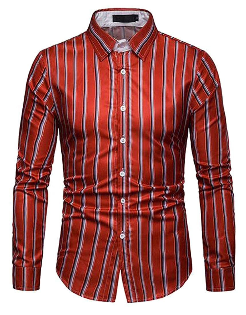 Jotebriyo Mens Casual Business Slim Fit Button Up Stripe Print Long Sleeve Dress Work Shirt