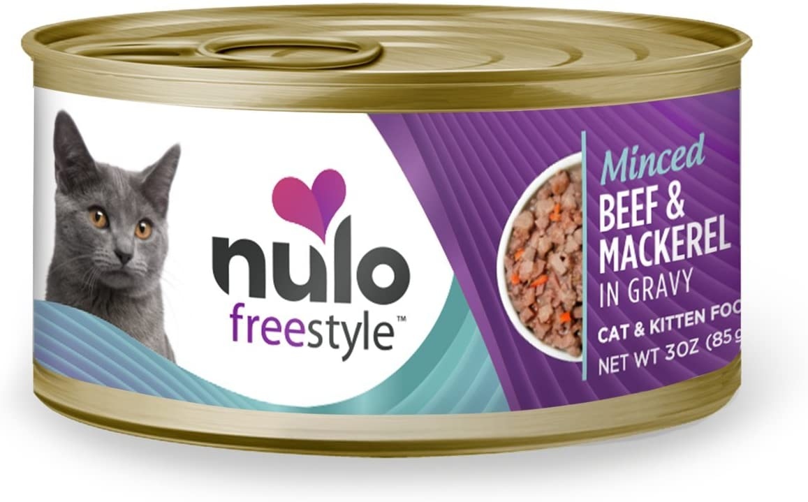 Nulo Adult & Kitten Grain Free Canned Wet Cat Food (Beef & Mackerel Recipe, 3 Oz, Case of 24)