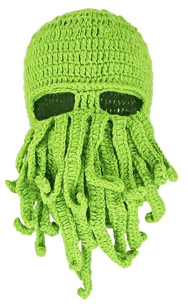 Amazon.com  Green Crochet Cthulhu Octopus Hat Beanie Ski Mask  Clothing 1f77409b04a