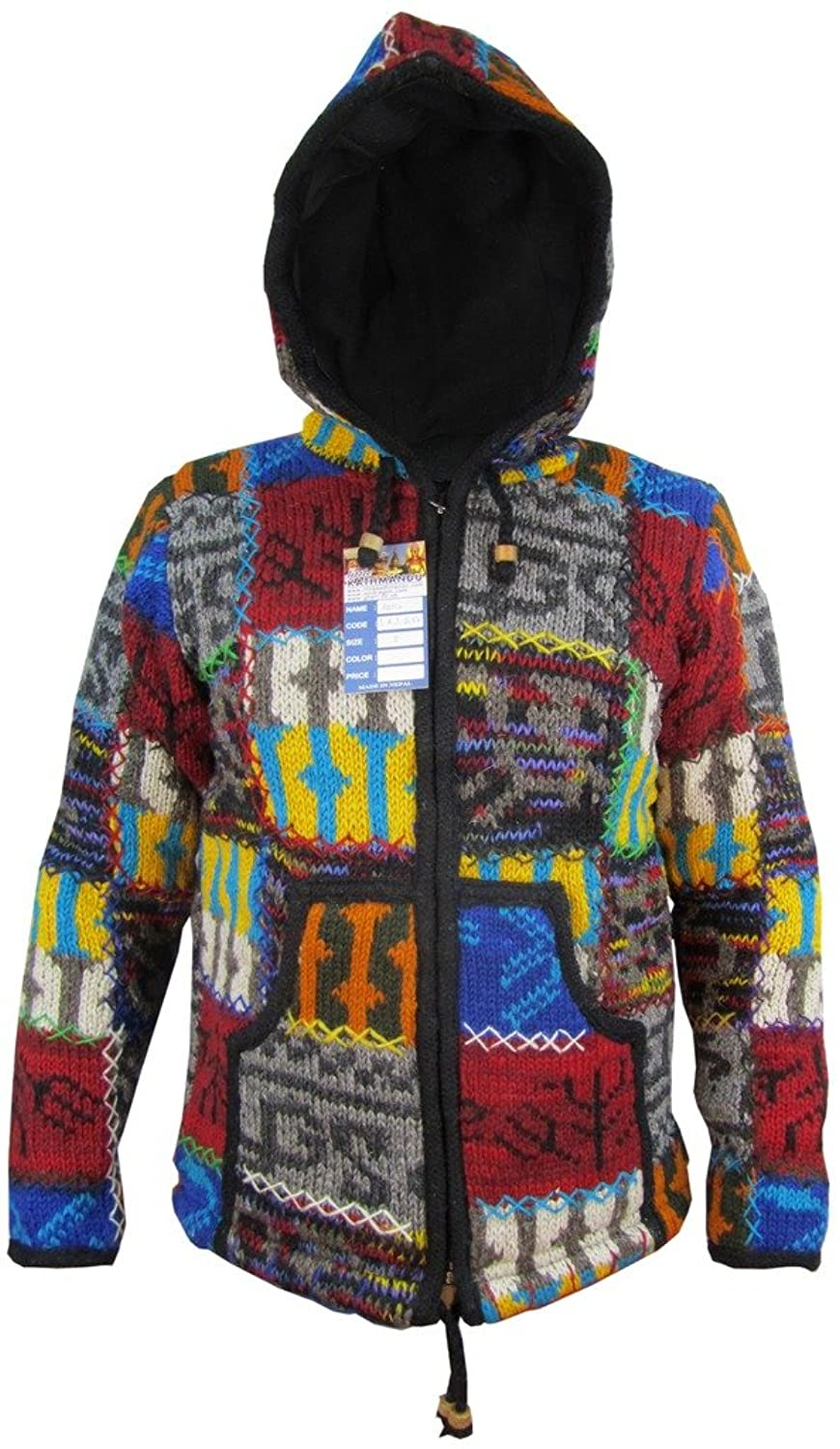 Men's Double Knitted Natural Woolen Patchwork Camping Festival Adventure Stitch Warm Jacket Jumper Hoodie