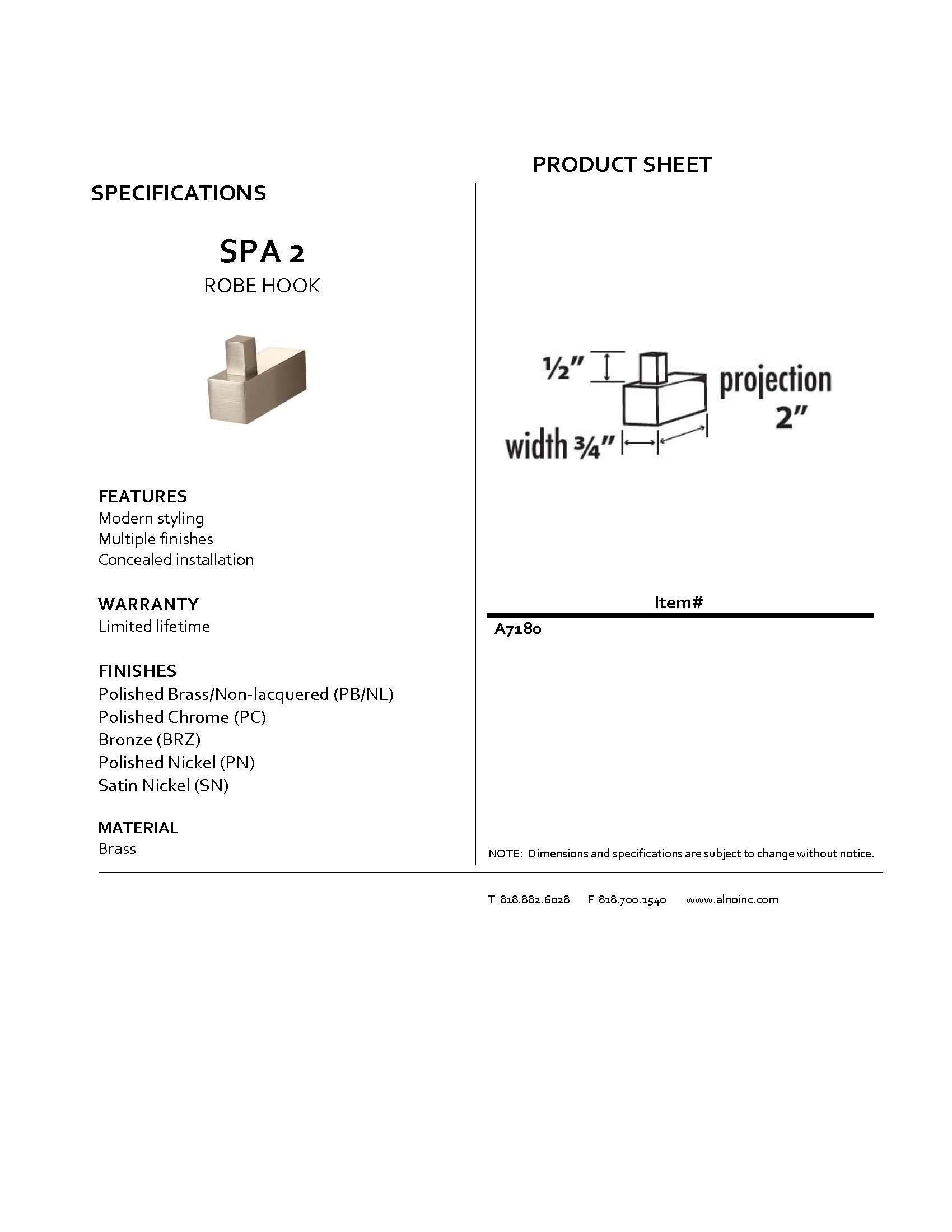 Alno A7180-PN Spa 2 Modern Robe Hooks, Polished Nickel