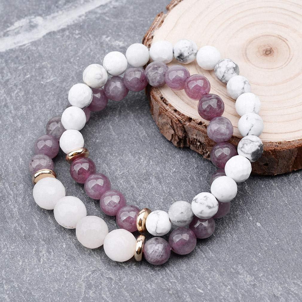 Hynsin 8 mm Natural Stone Strand Bracelet Women White Howlite Light Purple Quartz Round Beads Bracelet Jewelry