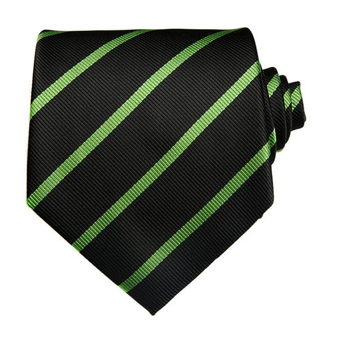 TNS - Corbata de rayas finas, clásica, con pañuelo y gemelos a ...