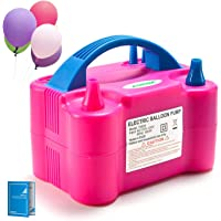 Electric Air Balloon Pump, AGPTEK 110V 600W Rose Red Portable Dual Nozzle Inflator/Blower for Party Decoration