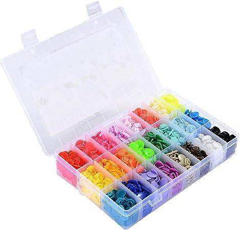 LIHAO Botones Redondos de T5 Plástico para Sujetar y DIY con Caja (360 Botones,24 Colores): Amazon.es: Hogar