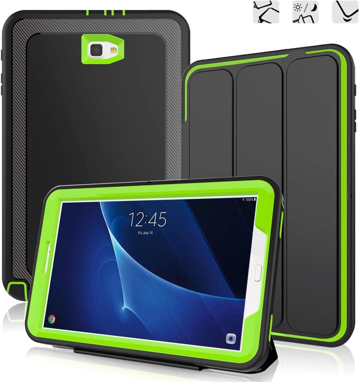 DUNNO Samsung Galaxy Tab A 10.1 Case - Heavy Duty Full Body Rugged Protective Case for Galaxy Tablet SM-T580 T585 T587(NO S Pen Version) with Auto Sleep/Wake Up & Stand Folio Design (Black/Green)