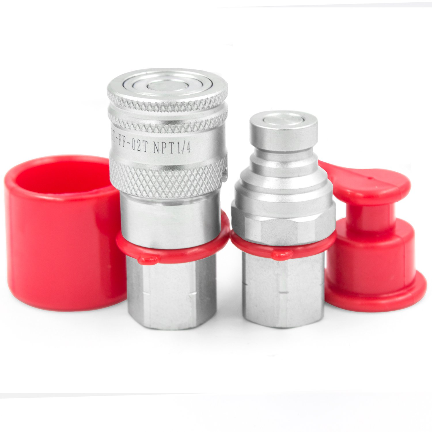 1/4'' NPT Thread 1/4'' Body Size Flat Face Hydraulic Quick Disconnect Coupler Coupling Set with Dust Caps