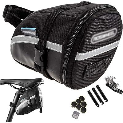 ZONSUSE-Bolsa de Bicicleta 1.2L, Bolsa Trasera de Bicicleta, Kit de Herramientas de Reparación Multifuncional 16 en 1, Adecuado Para Colocar Herramientas de Reparación, Guantes, Gafas, Etc.