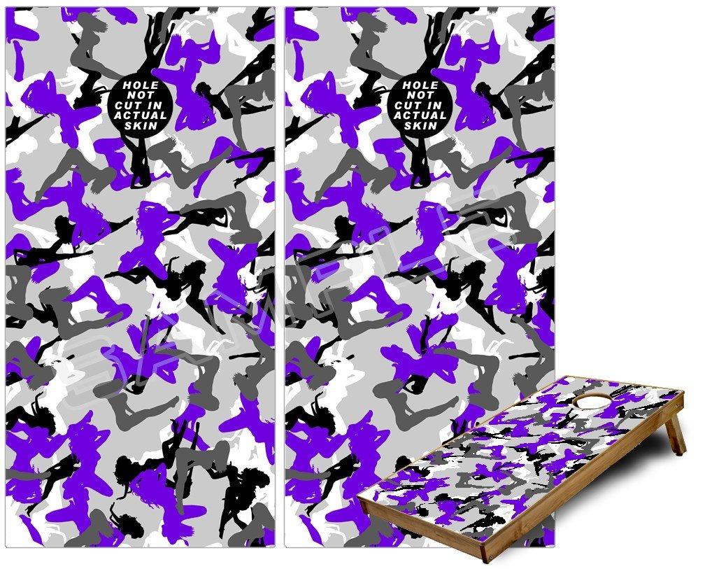 Cornhole Bag Bag Toss Gameボードビニールラップスキンキット – セクシーガールシルエット迷彩パープル( 24 – Fits 24 x 48ゲームボード – Gameboards NOT INCLUDED ) B00HXQ2D8Q, アクセサリーe-select:ff965e85 --- sharoshka.org