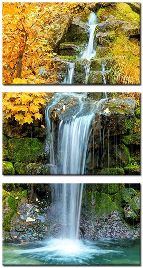 Amazon Com Kreative Arts 3 Pieces Canvas Wall Art Waterfall In Yellow Autumn Landscape Vertical Picture Gallery Wrapped Giclee Canvas Print Paintings Ready To Hang For Kitchen Decor 12x20inchx3pcs Posters Prints