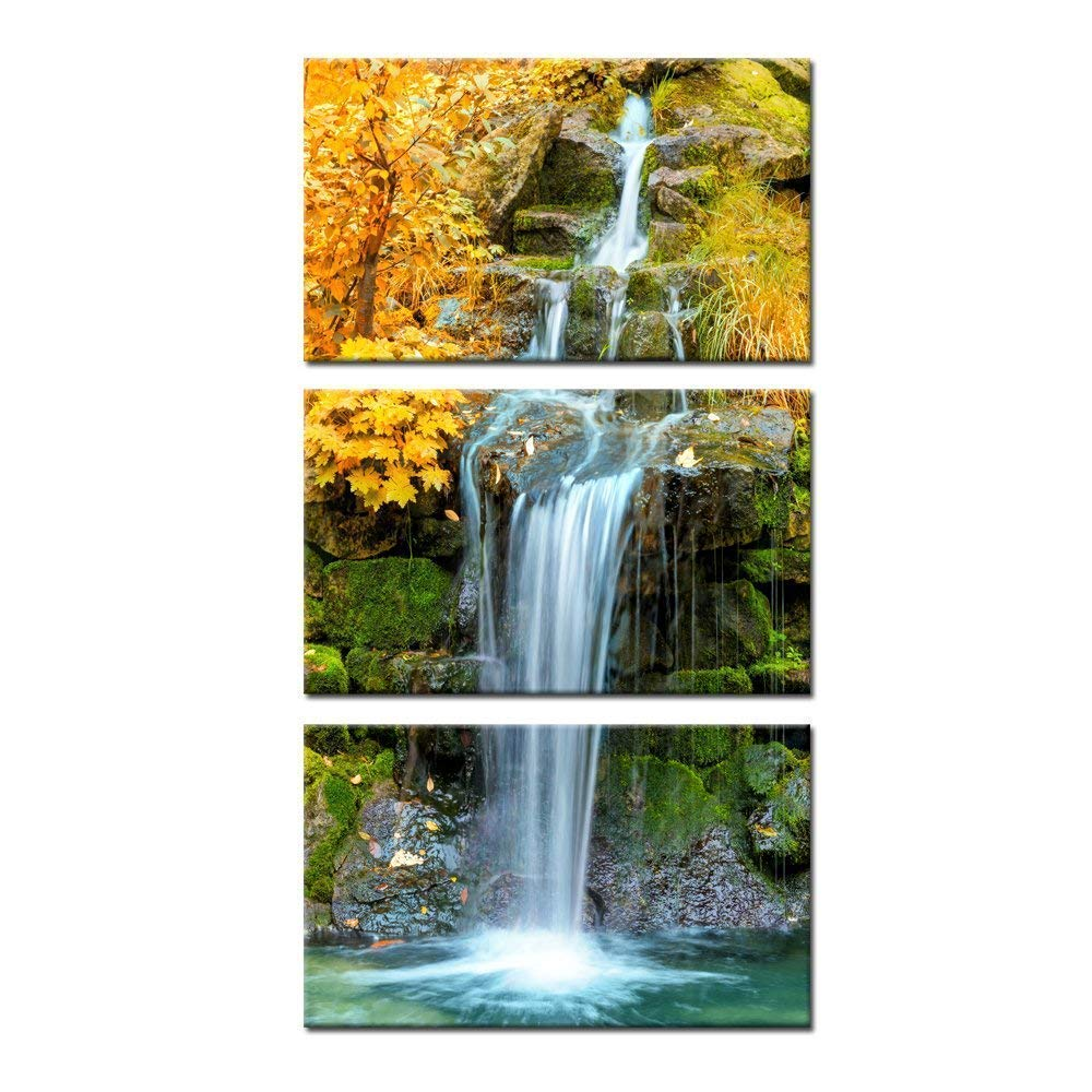 Kreative Arts 3 Pieces Canvas Wall Art Waterfall in Yellow Autumn Landscape Vertical Picture Gallery Wrapped Giclee Canvas Print Paintings Ready to Hang for Kitchen Decor 12x20inchx3pcs