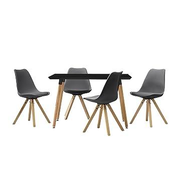en.casa] Esstisch mit 4 Stühlen grau gepolstert 120x80cm Kunstleder ...