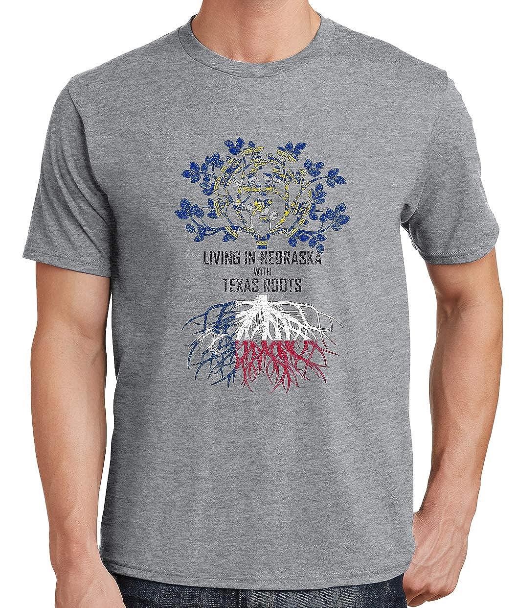Tenacitee Mens Living in Nebraska Texas Roots T-Shirt