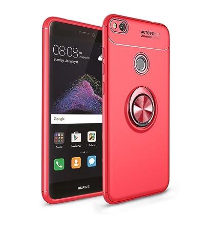 Leton Funda Huawei P8 Lite 2017 Silicona Anillo Ring Rojo Carcasa Huawei P8 Lite 2017 Case Kickstand 360 Grados Giratorio Grip Soporte Antigolpe ...