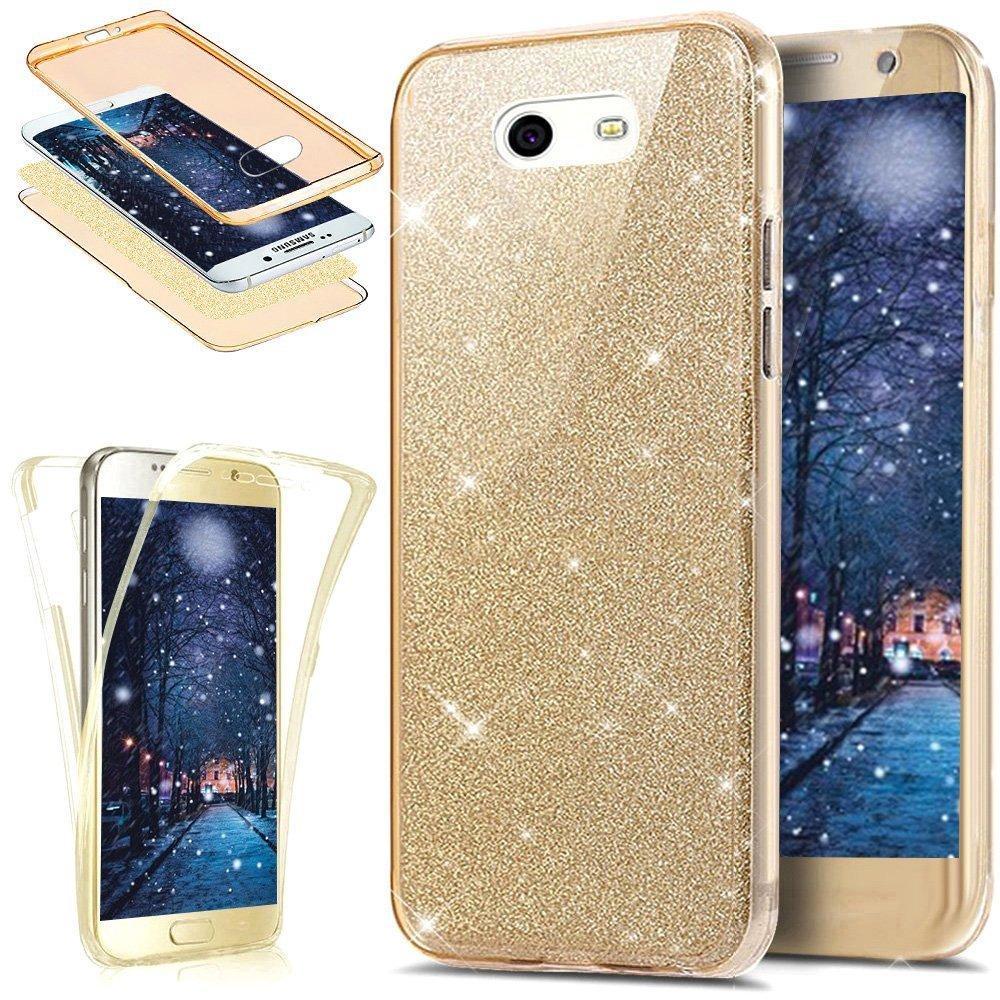 PHEZEN Galaxy J7 V ケース Galaxy J7 Perx ケース Galaxy J7 Sky Pro ケース グラデーションカラー フルボディ 360度 カバープロテクト ソフトクリアー TPU シリコンラバーケース Samsung Galaxy J7 2017用 PHEZEN08168 B075KKXVSW グリッターゴールド グリッターゴールド