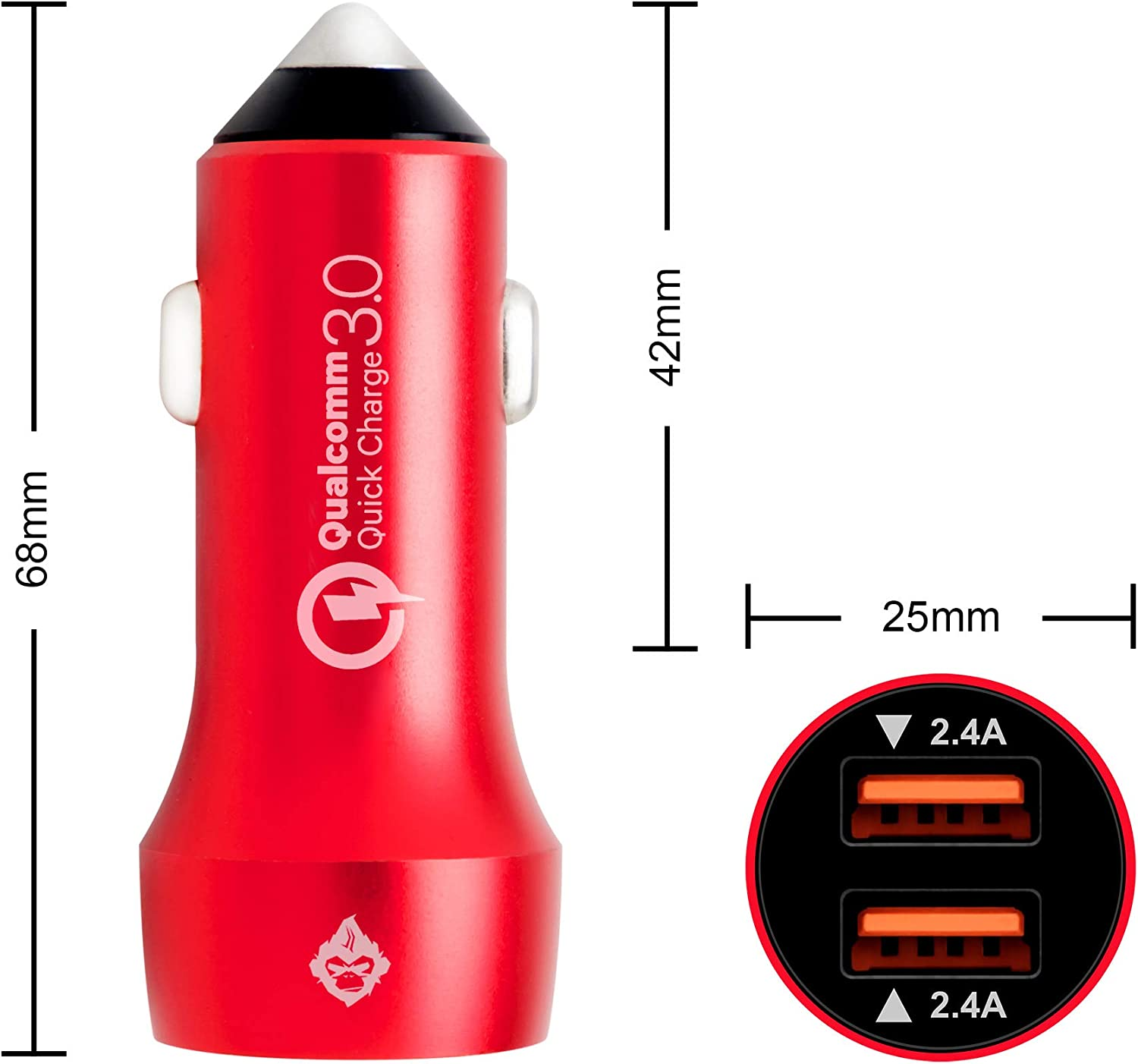 RED 3ft Silicone Fiber Ultra Durable Micro USB Cable Combo Xs XR X 8 7 6 Plus and Galaxy S9 S8 Plus S7 S6 Edge Note 8 and More Cyterus Aluminum 36W Dual USB Fast Car Charger