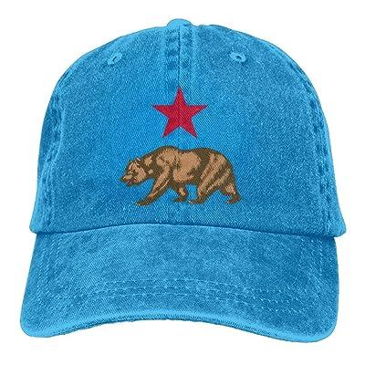 ElephantAN Men Women California Star and Bear Adjustable Vintage Baseball Caps Washed Cowboy Dyed Denim Hat Unisex
