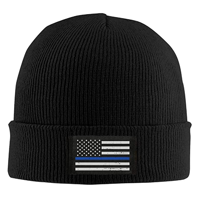 4e609f5aa5b08 Image Unavailable. Image not available for. Color  HATS NEW Winter Military  Thin Blue Line Flag Knit Hat Beanie Hat
