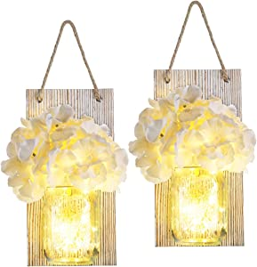 FAMKCY Decorative Mason Jar Wall Decor - Rustic Wall Sconces with LED Fairy Lights and Flowers for Bathroom Decor Home Coffee Table Dining Room Living Room Kitchen (Brown)