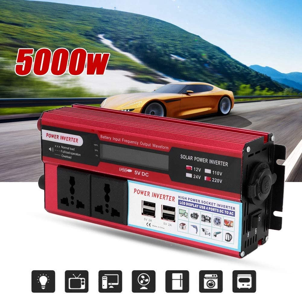 Simlug 5000W Car Solar Power Inverter Digital Display Phone 4 USB Charger DC 12V to AC 220V-240V
