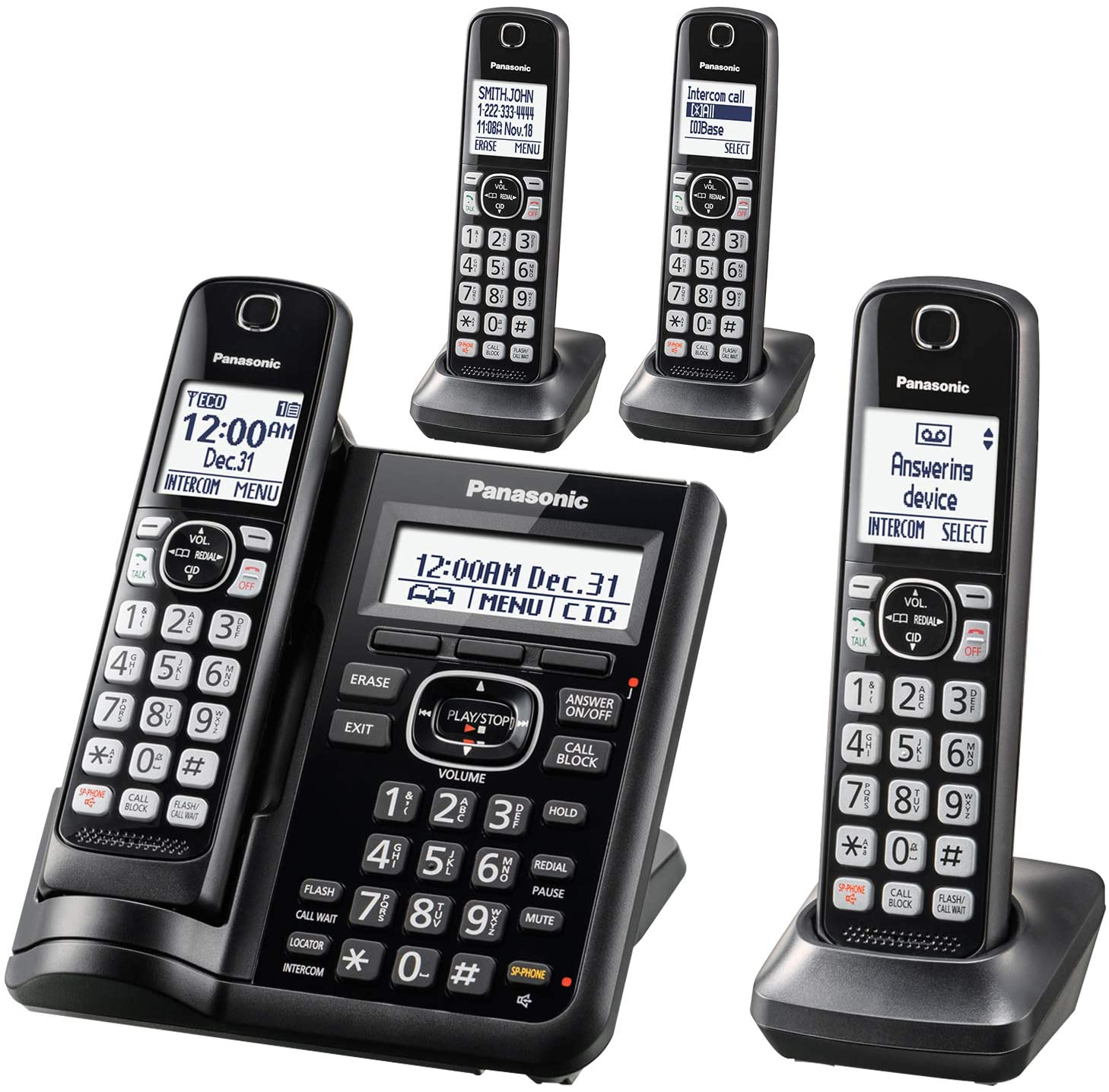 Panasonic Cordless Phone System with Answering Machine, One-Touch Call Block, Enhanced Noise Reduction, Talking Caller ID and Intercom Voice Paging - 4 Handsets - KX-TGF544B (Black)