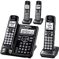 Teléfono extensible inalámbrico Panasonic con bloqueo de llamadas y contestador automático, 4 auriculares, Negro