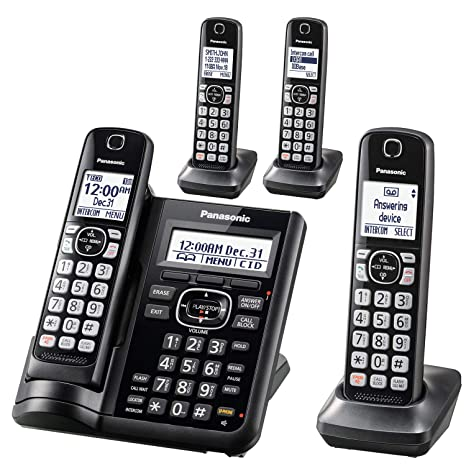 Panasonic Cordless Phone System with Answering Machine, One-Touch Call  Block, Enhanced Noise Reduction, Talking Caller ID and Intercom Voice  Paging -