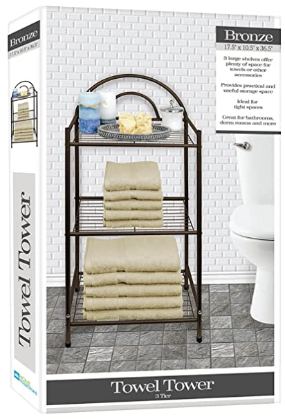 DINY Home U0026 Style Deluxe Spa Tower 3 Tier Towel U0026 Bathroom Accessory Rack  Bronze