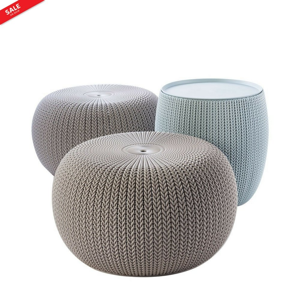 2 Round Poufs Indoor Outdoor Chic Modern 1 Storage Table Gardens Party Decor Living Room All Weather Comfortable Lightweight 3 Pc.Color Blue Taupe & eBook by BADA shop