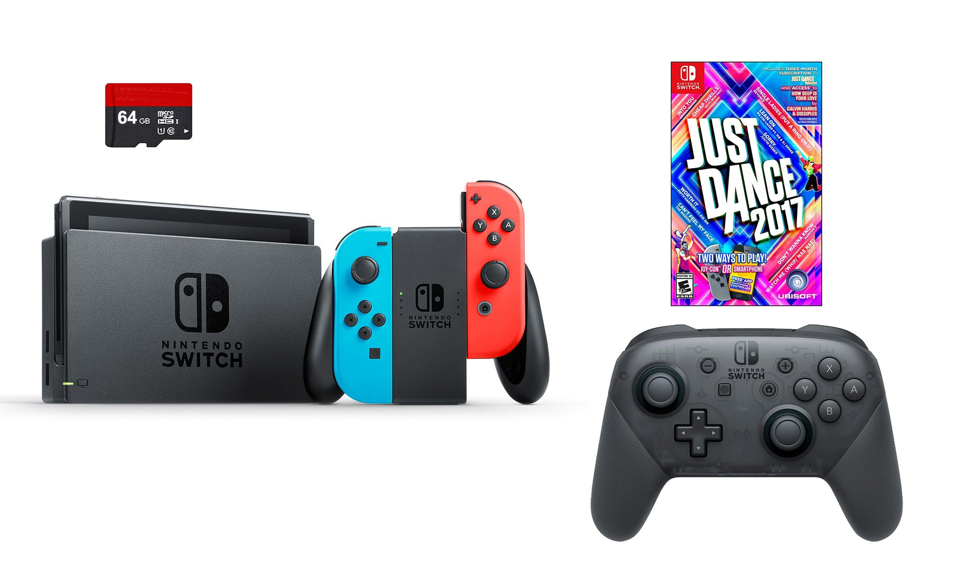 Nintendo Switch 4 items Bundle:Nintendo Switch 32GB Console Neon Red and Blue Joy-con,64GB Micro SD Memory Card and an Extra Nintendo Switch Pro Wireless Controller,Just Dance 2017