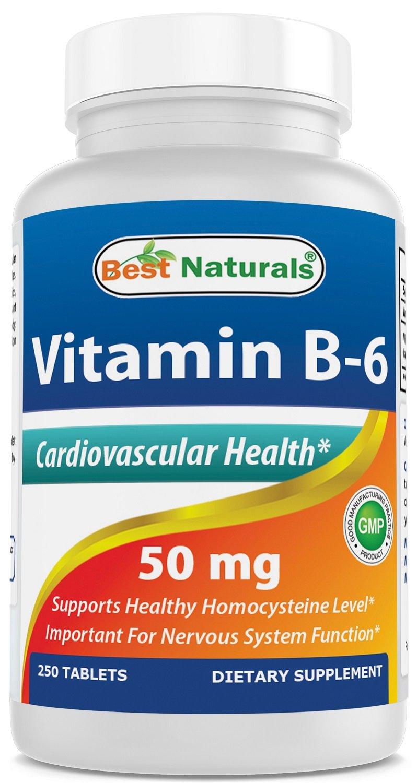 Best Naturals Vitamin B6 50 mg 250 Tablets