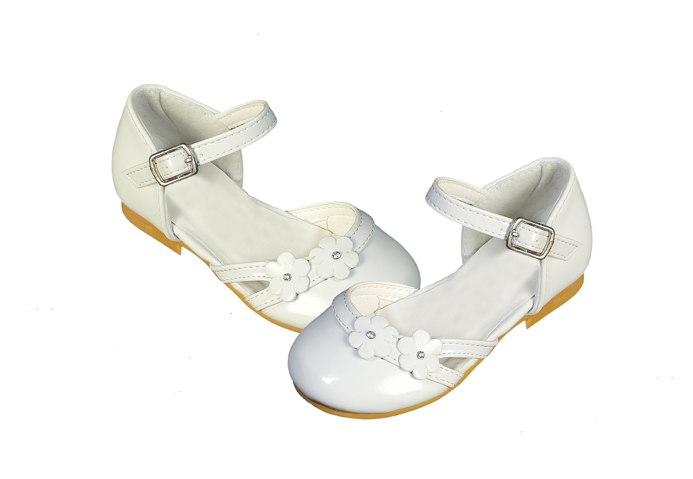 DressForLess Cut Out Flower Patent Flower Girl Shoes, Ivory, 5 by DressForLess (Image #2)
