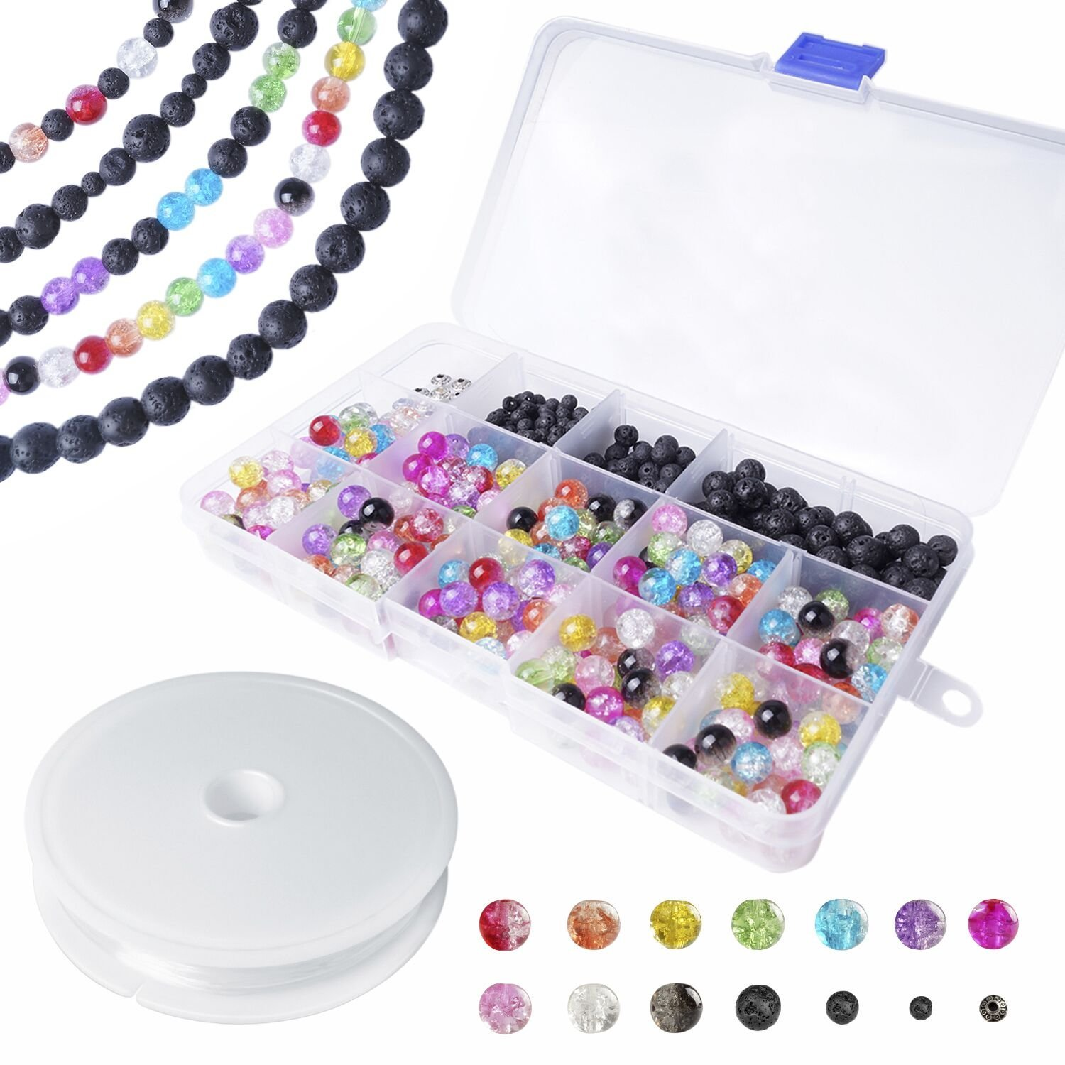 Lava Beads Lava Stone Beads for Essential Oil and Jewelry Making with Colorful Glass Crackle Beads 410pcs FittiDoll