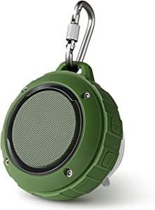 Outdoor Waterproof Bluetooth Speaker,Kunodi Wireless Portable Mini Travel Speaker with Subwoofer, Enhanced Bass, Built in Mic for Sports, Pool, Beach, Hiking, Camping (Green)