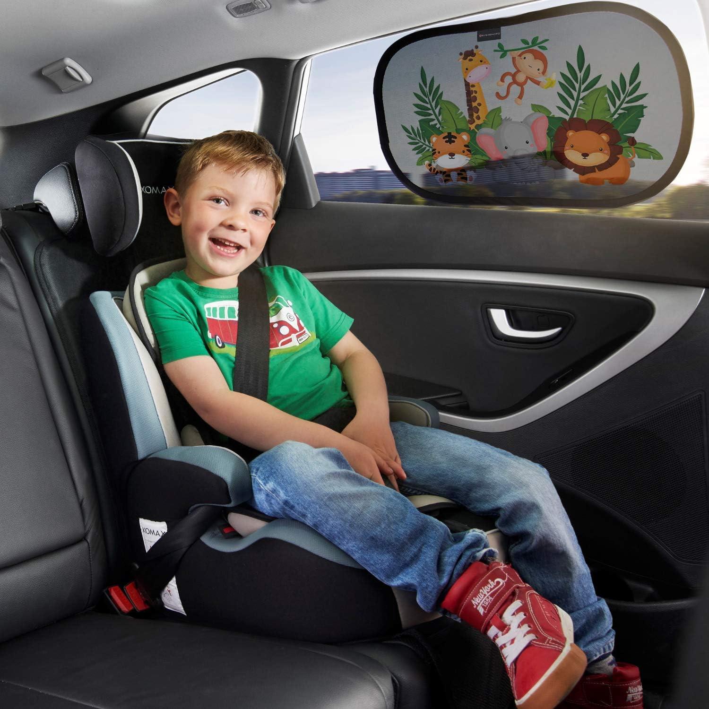Wildlife Systemoto Pare Soleil de voiture pour b/éb/é Extra fonc/é avec protection UV certifi/ée 2 pi/èces Pare-soleil Auto-Adh/ésifs pour Enfants