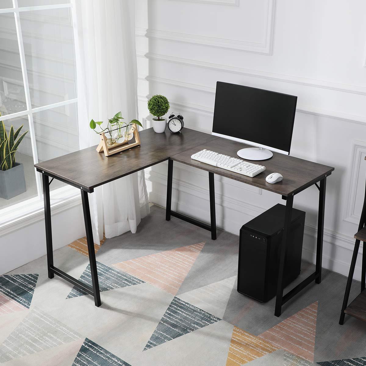GreenForest Corner Desk L Shaped Computer Desk PC Latop Table Workstation for Home Office, Walnut by GreenForest (Image #2)