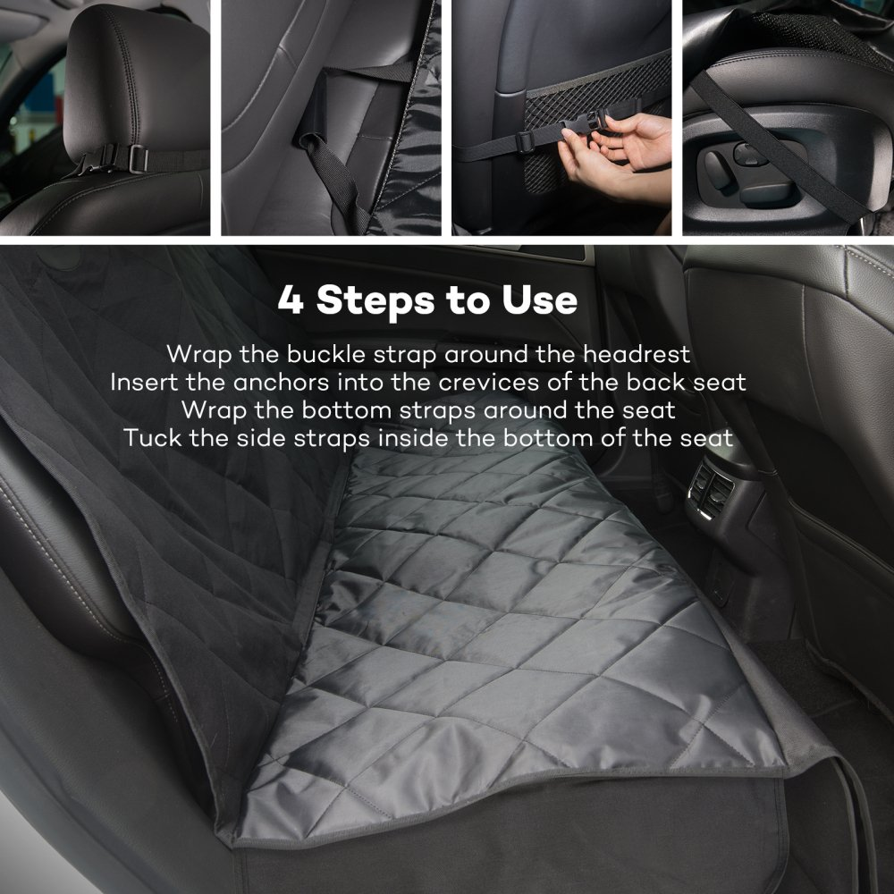 TaoTronics Back Seat Cover for Dogs, 100% Waterproof, Pet Seat Cover, Dog Car Seat Covers, Dog Hammock, Slip-proof, Scratch-proof, Stain-proof, for Most Cars(approximately 54x58 inches) by TaoTronics (Image #7)
