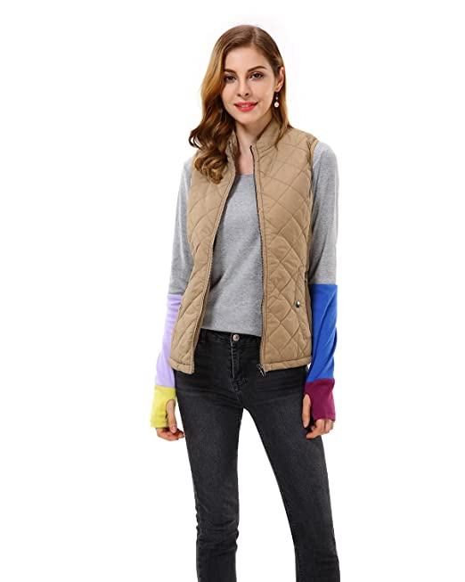 Apperloth Womens Quilted Zipper Padding Lightweight Jacket Vest With Stand Collar