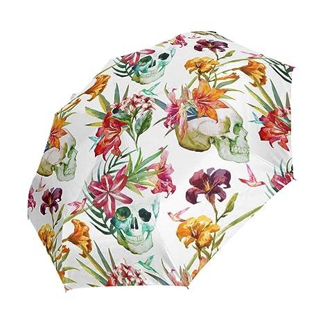 deyya Custom paraguas de regalo de cumpleaños – Halloween rosa azúcar calaveras Auto plegable paraguas resistente
