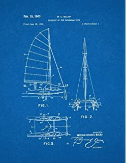 Amazon sailboat patent print art poster blueprint 11 x 14 sailboat of the catamaran type patent print art poster blueprint 11 x malvernweather Image collections