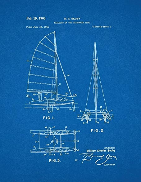 Amazon sailboat of the catamaran type patent print art poster sailboat of the catamaran type patent print art poster blueprint 13quot malvernweather Image collections