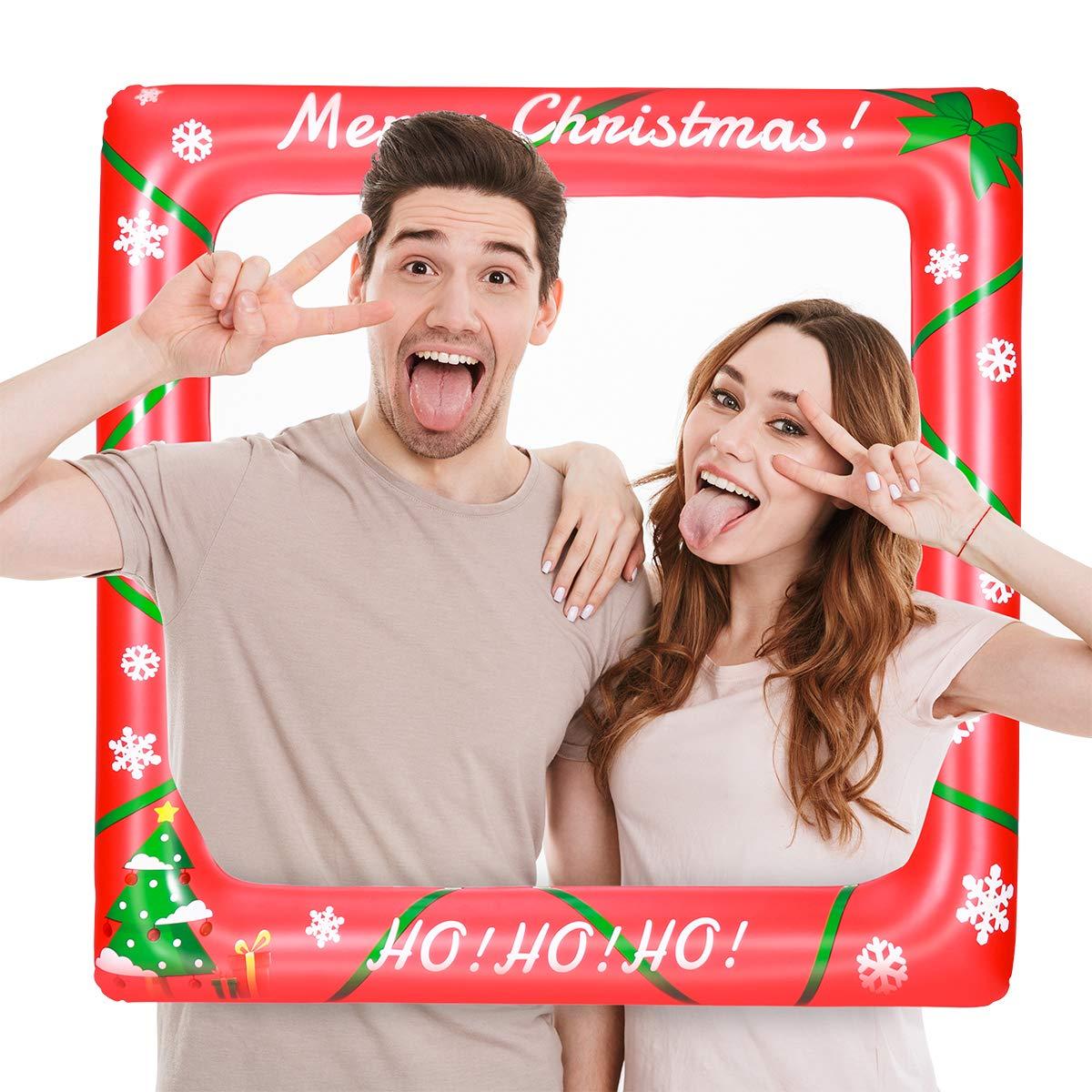 Amosfun Bastidor Inflable de Navidad Photo Booth Props Navidad Photo Props Selfie Picture Frame Celebraci/ón Blow Up Party Apoyos para cumplea/ños Boda Fiesta de Navidad 71 x 71cm