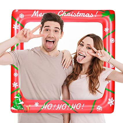 Amazoncom Luoem Christmas Inflatable Selfie Frame Blow Up Party