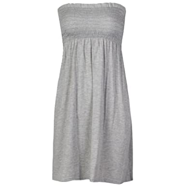 1829a2c25b3 IMAGINARY LADIES WOMENS FLORAL SHEERING BOOBTUBE STRETCH MINI DRESS TOPS  PLUS SIZE 8-22 Grey