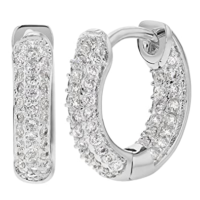 d43ed32f7 Image Unavailable. Image not available for. Color: Rhodium Plated Micro  Pave Cubic Zirconia Huggie Hoop Earrings 8mm