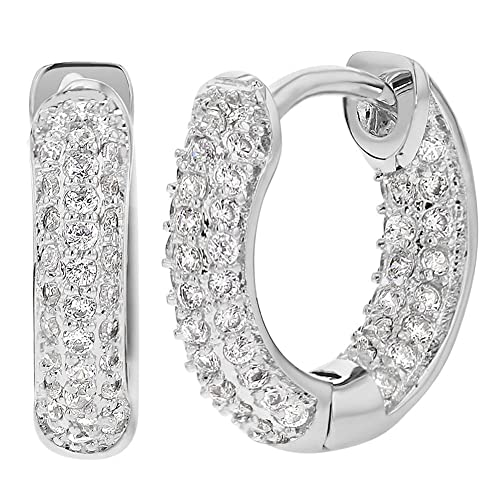 Rhodium Plated Micro Pave Cubic Zirconia Huggie Hoop Earrings 8mm V3D1O9fRQ